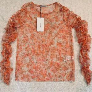 Zara W/B Pink and Orange Floral Sheer Ruched Top